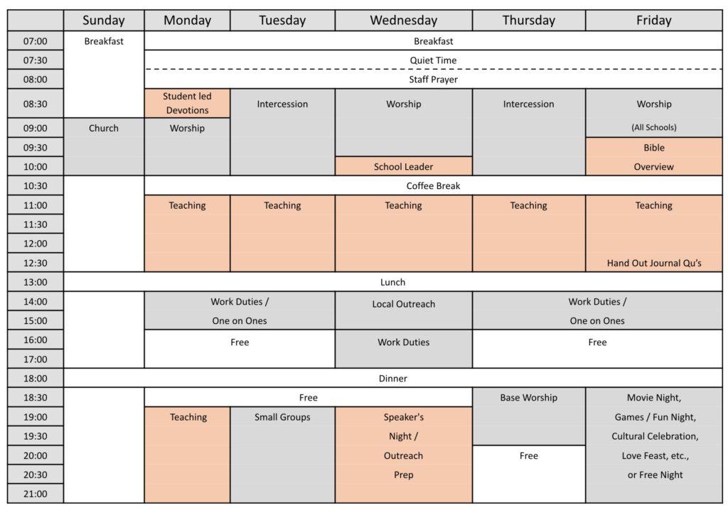 Sample DTS Weekly Schedule